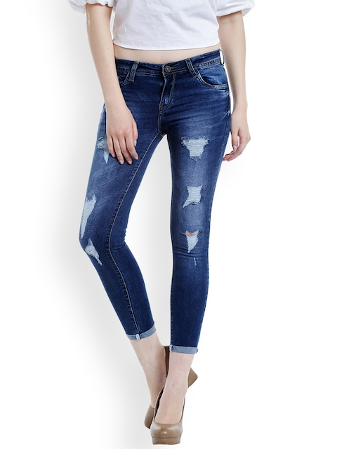 fungus Women Blue Slim Fit Low-Rise Highly Distressed Stretchable Jeans  available at myntra for Rs.1899