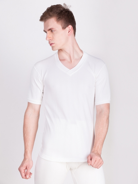 Dollar Ultra Men White Solid Thermal T-shirt