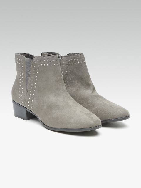 DOROTHY PERKINS Women Grey Studded Heeled Boots