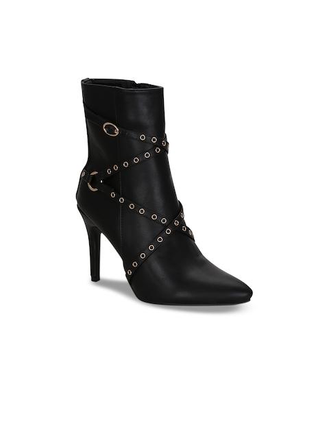 Get Glamr Women Black Solid Embellished Heeled Boots