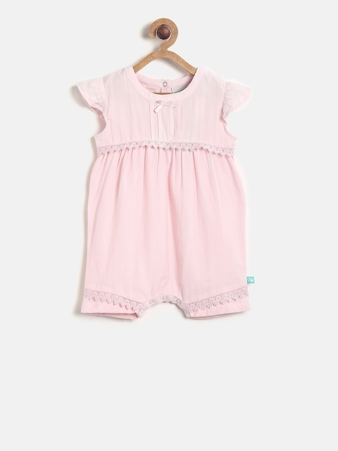 MINI KLUB Girls Pink Rompers with Lace Detail