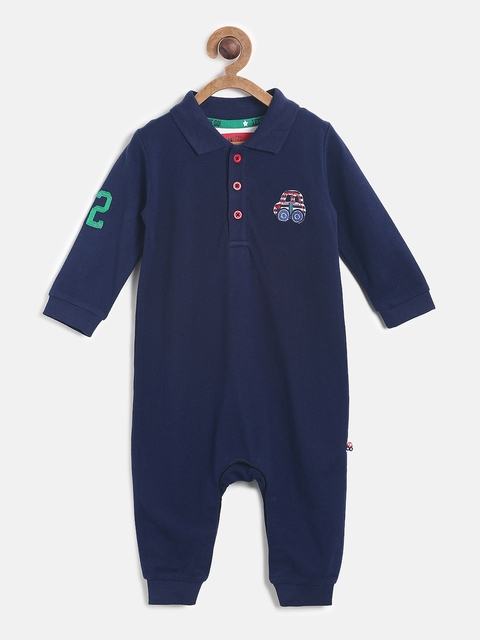 MINI KLUB Infant Boys Navy Blue Solid Rompers