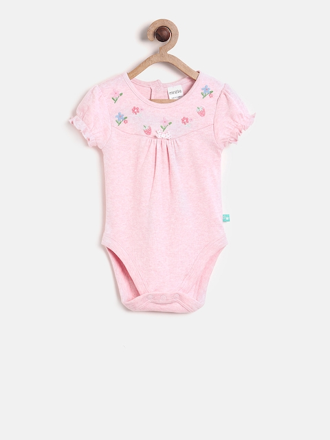 MINI KLUB Infant Girls Pink Solid Bodysuit