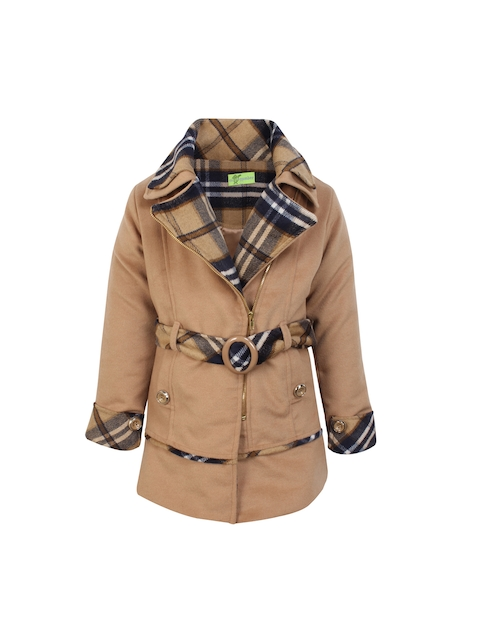 CUTECUMBER Girls Beige Checked Quilted Jacket