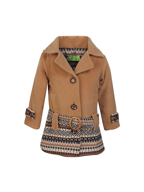 CUTECUMBER Girls Beige Heavy Winter Printed Peacoat