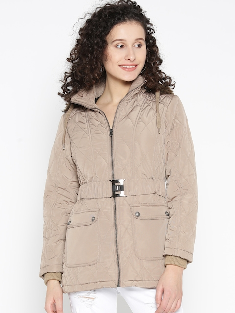 Fort Collins Women Beige Solid Parka Jacket with Detachable Hood