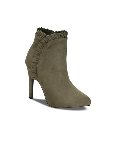 Kielz Women Olive Green Solid Heeled Boots