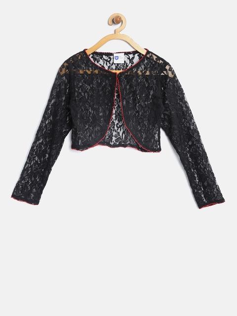 612 league Girls Black Lace Button Shrug