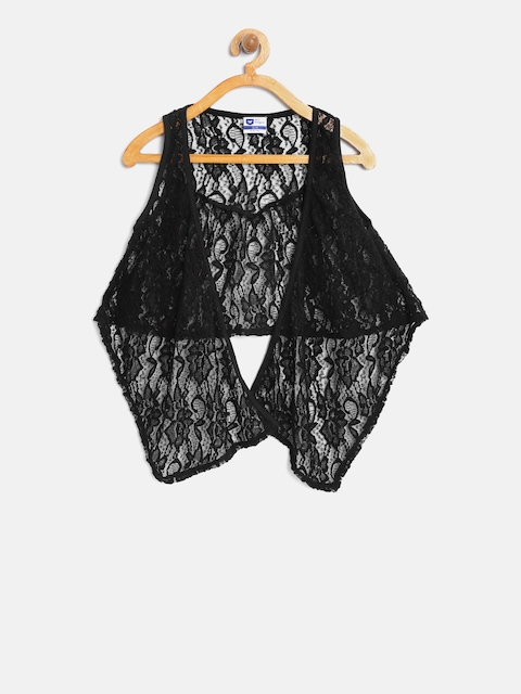 612 league Girls Black Lace Open Front Shrug