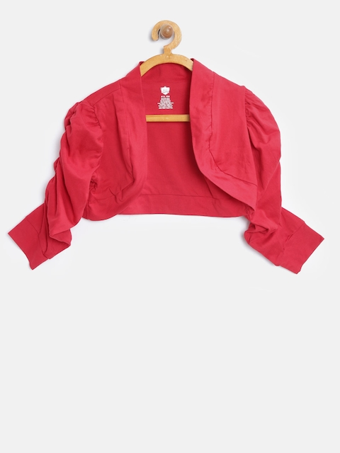 612 Ivy League Girls Red Solid Open Front Shrug