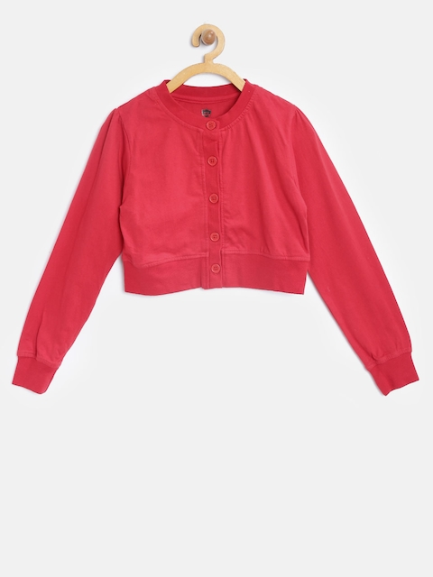 612 Ivy League Girls Red Solid Button Shrug