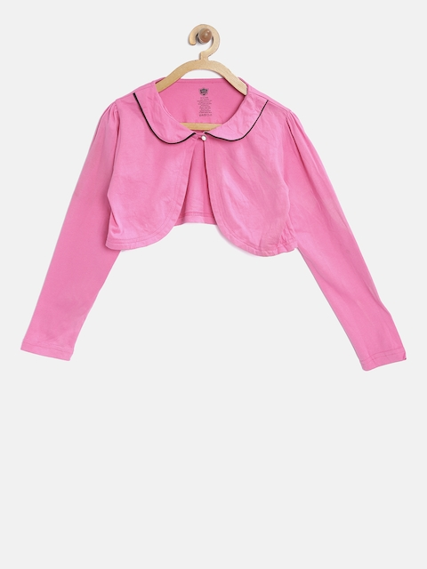 612 Ivy League Girls Pink Solid Button Shrug