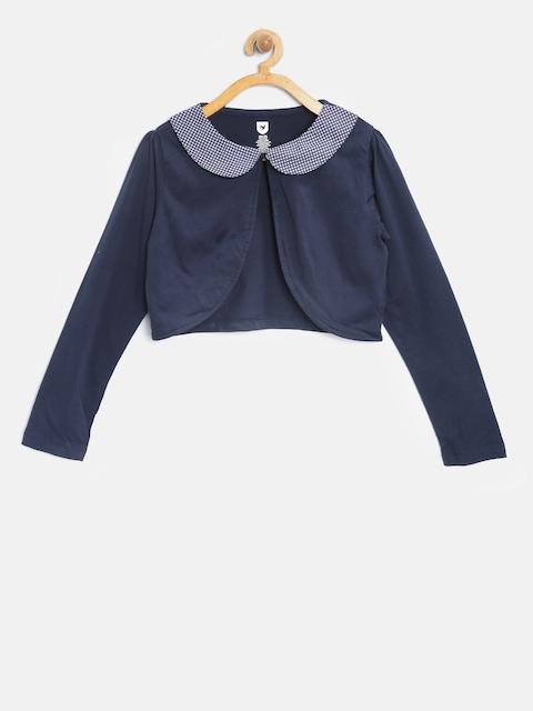 612 league Girls Navy Blue Solid Button Shrug