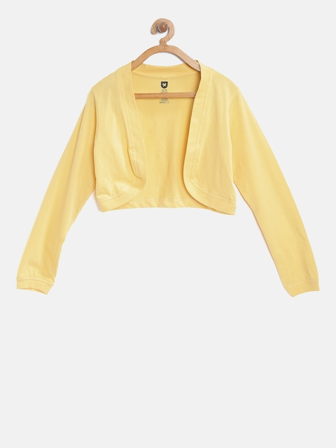 612 league Girls Yellow Solid Open Front Shrug