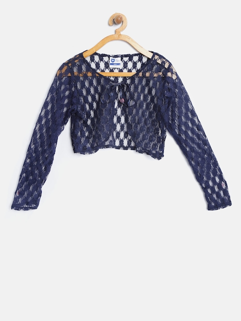 612 league Girls Navy Blue Crop Lace Shrug