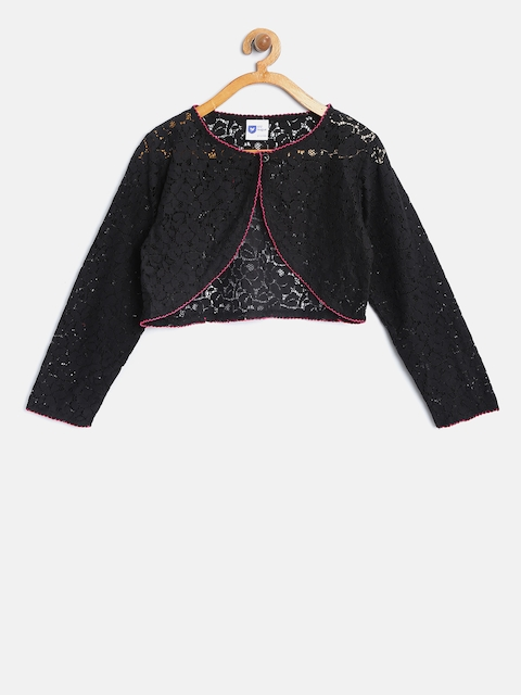 612 league Girls Black Crop Lace Shrug