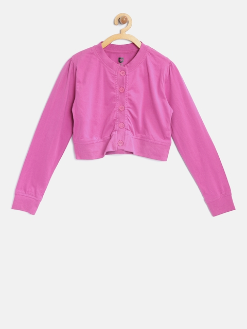 612 league Girls Pink Solid Button Shrug