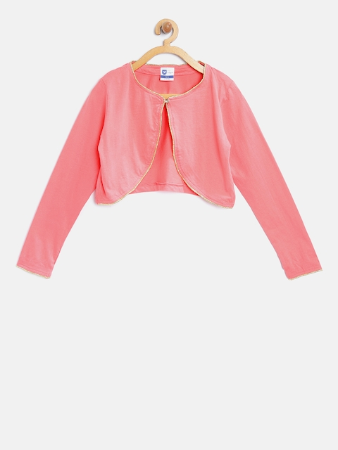 612 league Girls Pink Solid Crop Shrug
