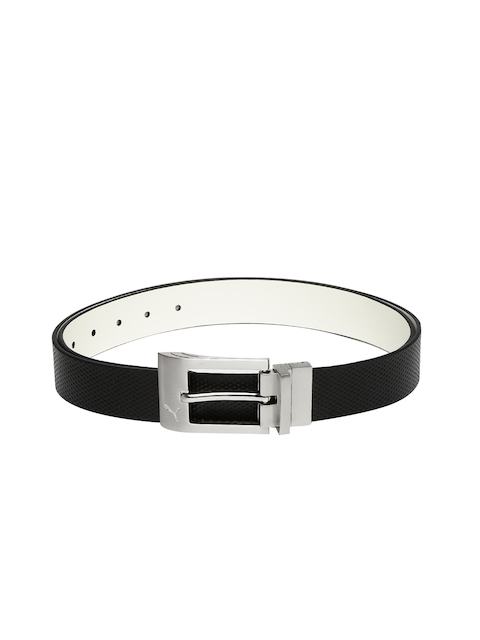 Puma Men Black & White Back Spin CTL Reversible Leather Belt