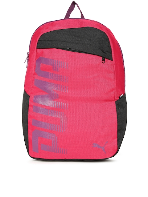 Puma Unisex Pink & Black Pioneer Backpack  available at myntra for Rs.899