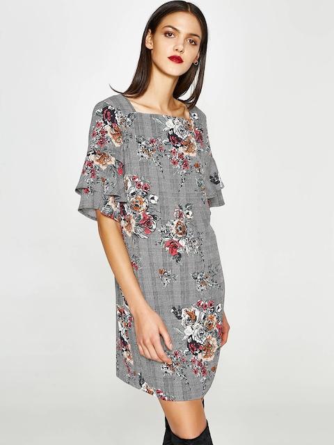 OVS Women Black & Off-White Printed A-Line Dress