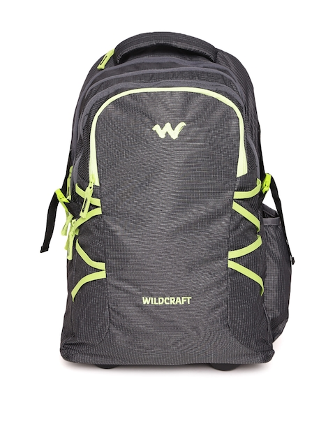 Wildcraft Unisex Charcoal Grey Voyager Patterned Trolley Backpack