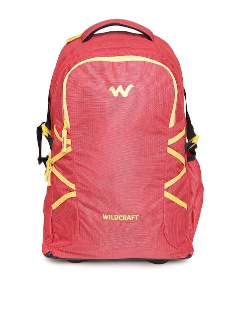 Wildcraft Unisex Red Voyager Patterned Trolley Backpack