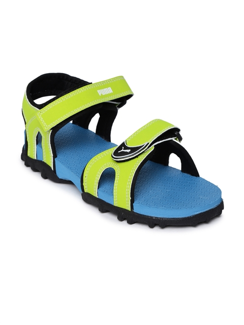 Puma Unisex Lime Green & Blue Track Jr Sports Sandals