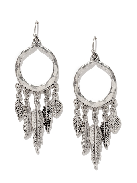Ayesha Silver-Toned Contemporary Drop Earrings