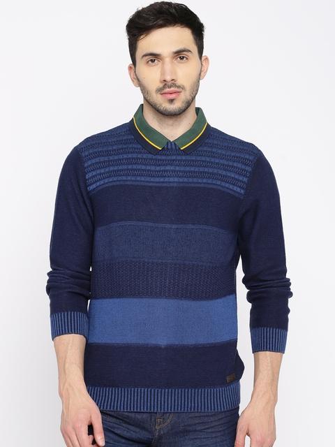 Wrangler Men Blue Striped Sweater