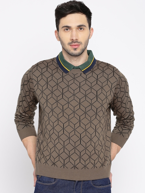 Wrangler Men Taupe Patterned Sweater