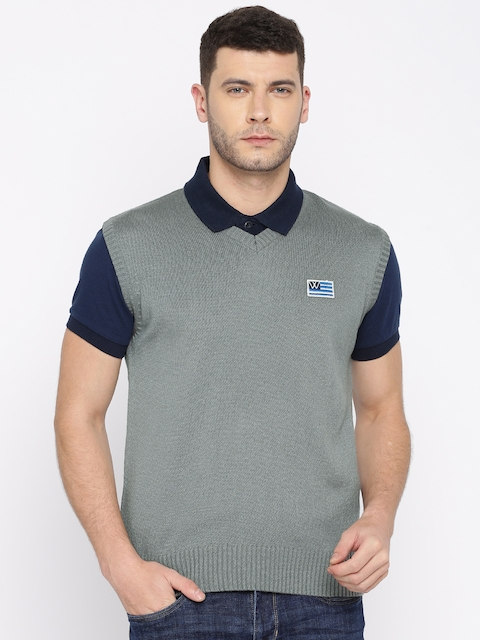 Wrangler Men Grey Solid Sweater Vest