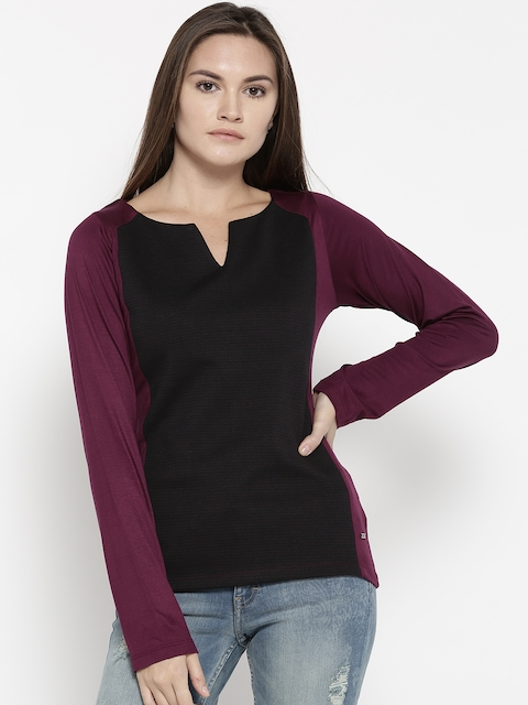 Monte Carlo Women Black & Burgundy Colourblocked Self-Design Top
