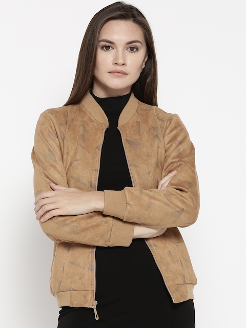 Monte Carlo Women Brown Printed Bomber Jacket