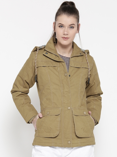 Monte Carlo Women Khaki Hooded Tailored Jacket
