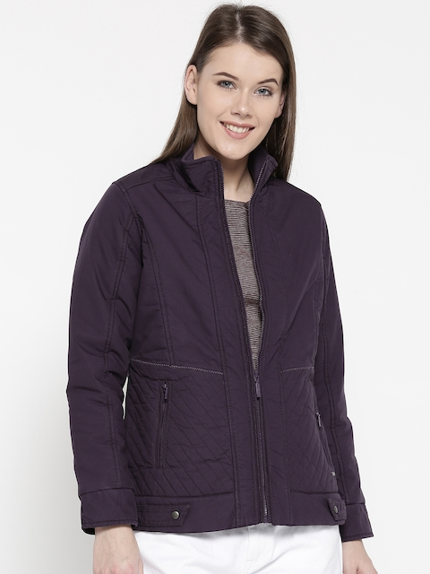 Monte Carlo Women Purple Solid Tailored Jacket