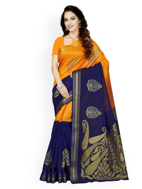Ishin Orange & Blue Art Silk Woven Design Bhagalpuri Saree