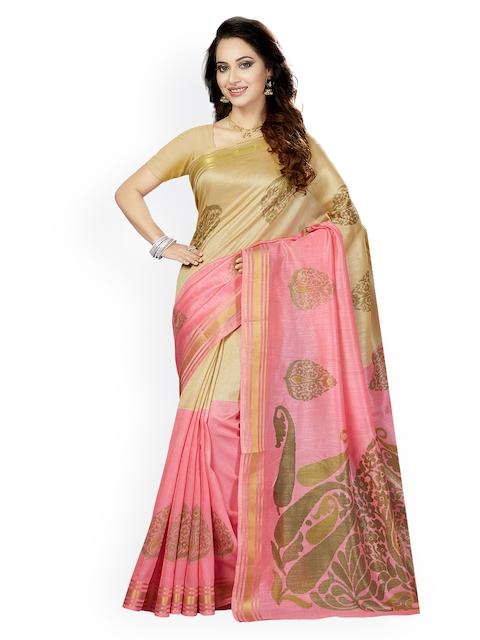 Ishin Beige & Pink Art Silk Woven Design Bhagalpuri Saree