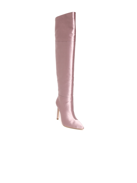 MANGO Women Mauve Solid Above Knee-Length Heeled Boots