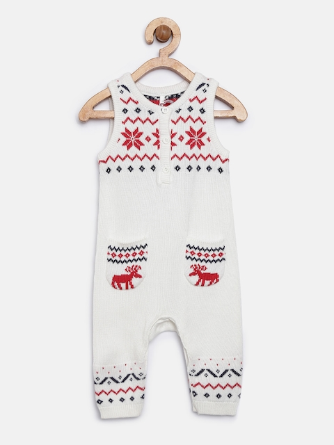 mothercare Kids Off-White Patterned Rompers
