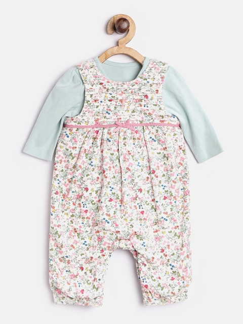 mothercare Girls Off-White & Pink Floral Print Dungarees with Bodysuit