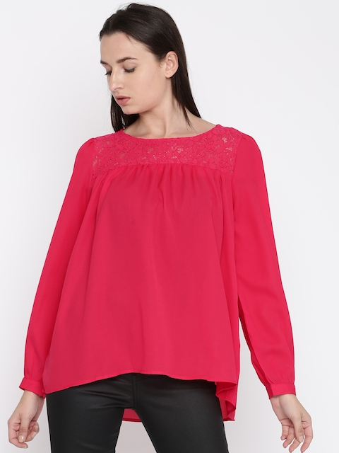 French Connection Women Pink Solid Lace Top