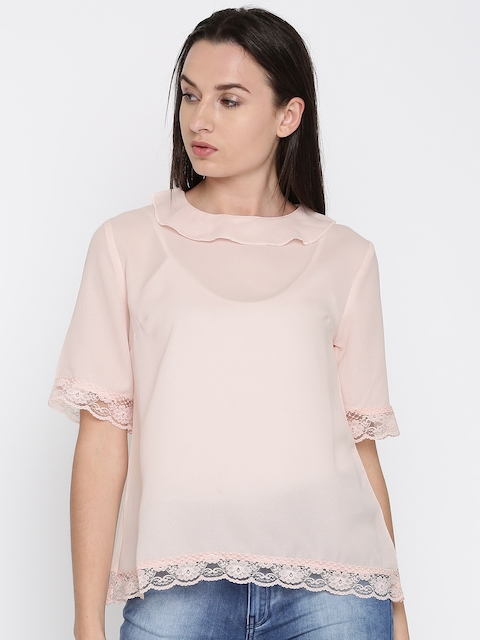French Connection Women Pink Solid Semi-Sheer Top