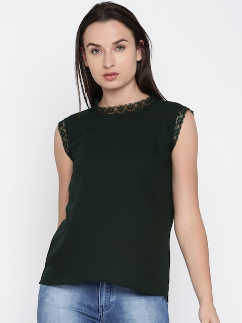 French Connection Women Green Solid Top