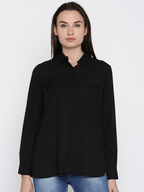 French Connection Women Black Regular Fit Solid Casual Shirt