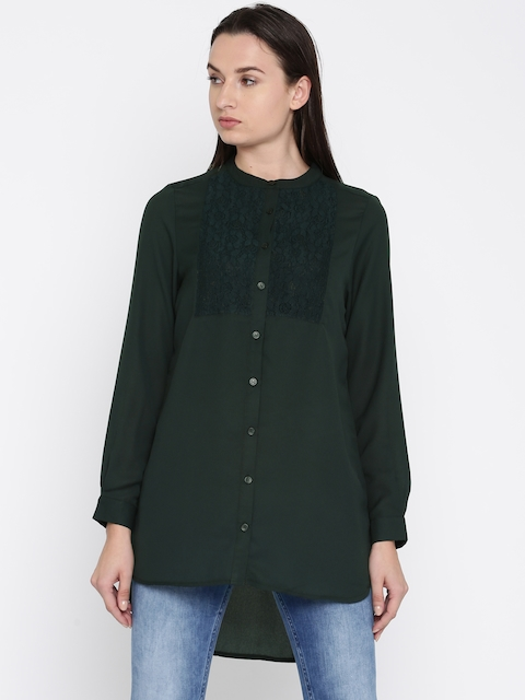 French Connection Women Green Solid Shirt Style Top