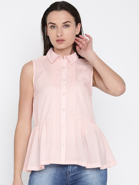 French Connection Women Pink Solid Shirt Style Top