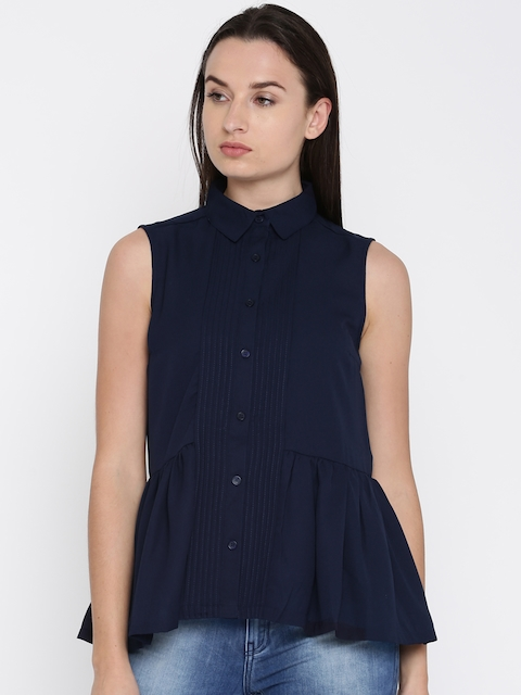 French Connection Women Navy Blue Solid Shirt Style Top