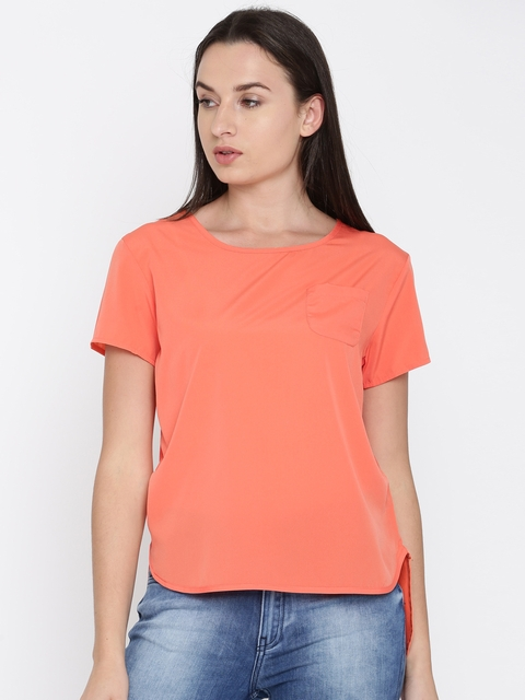 French Connection Women Orange Solid High-Low Top