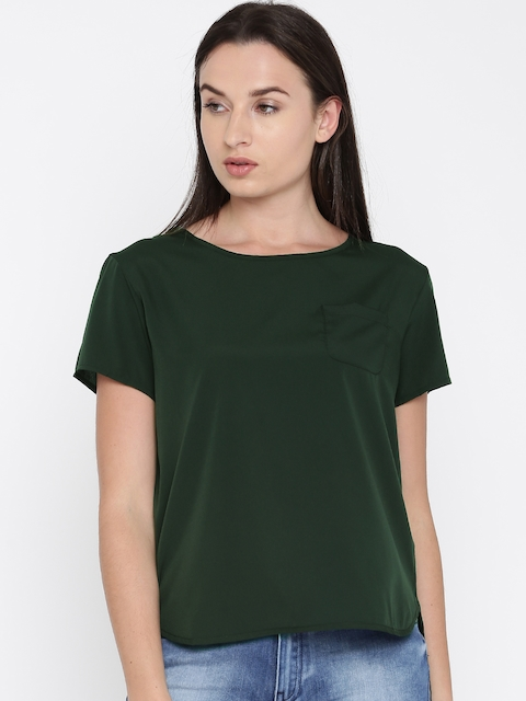French Connection Women Olive Green Solid High-Low Top
